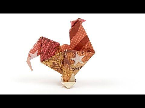 Geldscheine falten Ostern, HAHN aus GELD basteln, Anleitung auf Deutsch #origamianleitungen