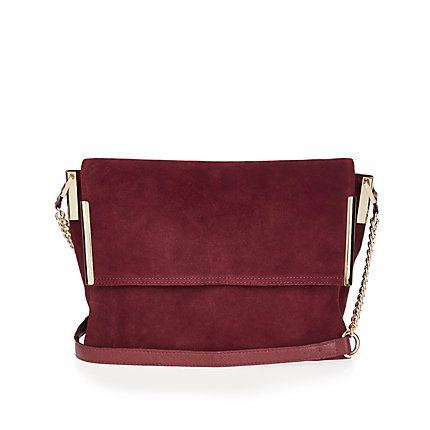 Dark Red Suede Foldover Handbag 75 00