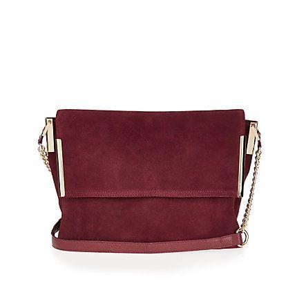 Dark Red Suede Foldover Handbag 75 00