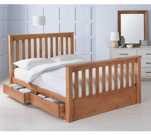 Buy Collection Maximus Oak Stained Drawer Bed Frame Double At Argos Co Uk Visit Argos Co Uk To Shop Online For Bed Frames Beds Bedr Bed Frame Bed Oak Beds