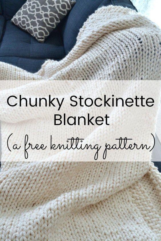 A Free Delightfully Chunky Blanket Knitting Pattern en 2018 ...