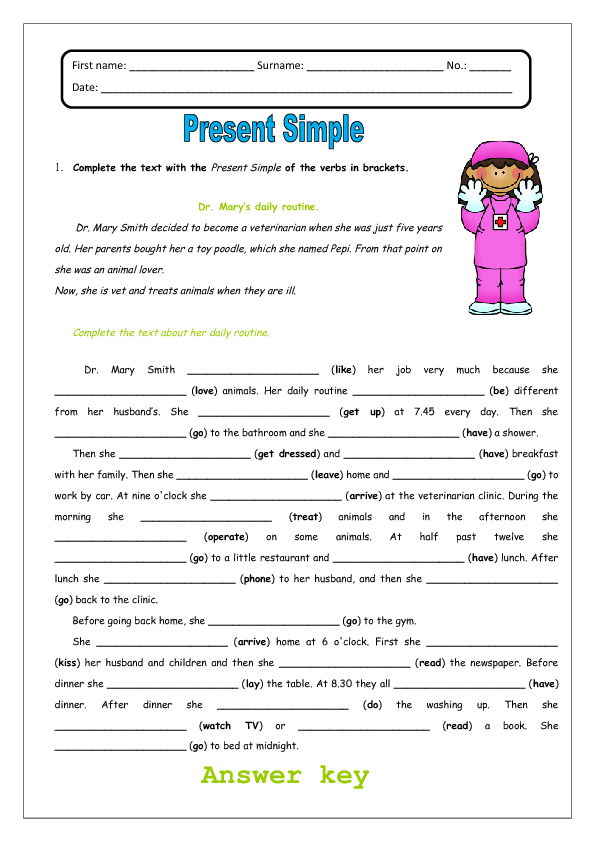 Present Simple and Daily Routines Worksheet Daily