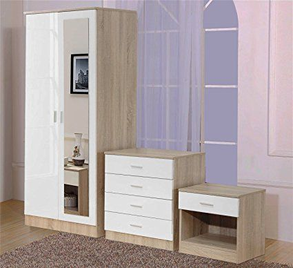 Ossotto Mirrored High Gloss 3 Piece Bedroom Furniture Set ...