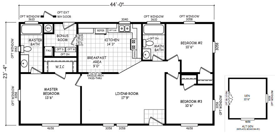 Desert Hills 24 X 44 1027 Sqft Mobile Home Factory Select Homes Mobile Home Floor Plans Floor Plans Mobile Home Doublewide