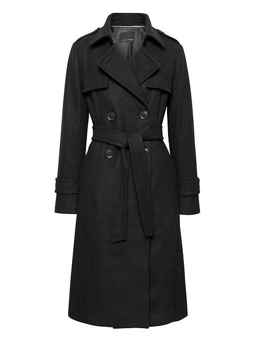 Banana Republic Black wool coat. Black