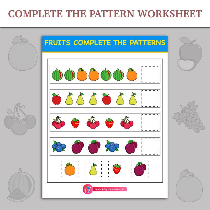 Complete The Patterns Worksheet  Inky Treasure  Free Printable