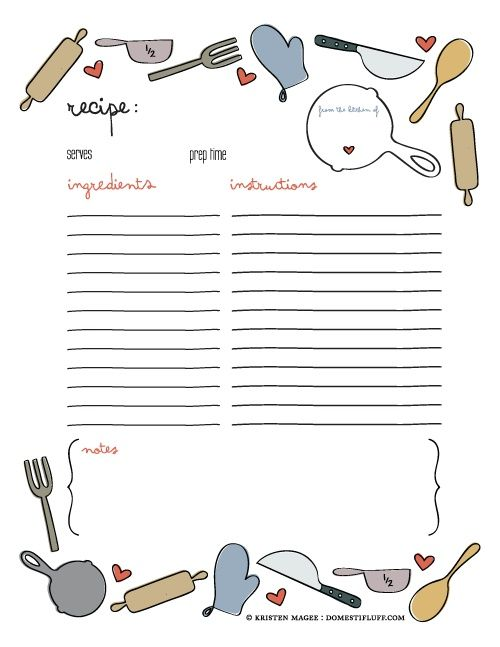 free printable recipe page template for diy cookbook craftin