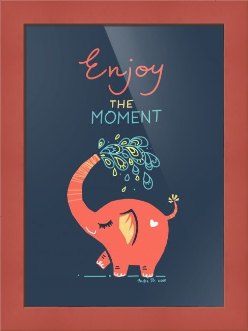 """Enjoy the Moment"" by Indre Bankauskaite, shown with our Confetti 7/8 Red Cube frame in the medium size.  Relax and enjoy a gorgeous array of prints available on www.imagekind.com!"