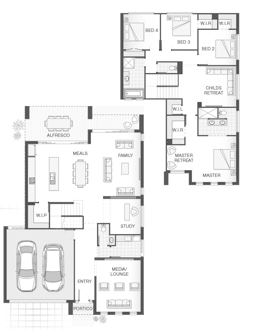 Open Plan Living Functional Layout Style Practicality 4 Bedrooms 2 5 Bathrooms 2 Car Garage 11 8m W X 12 Open House Plans House Floor Plans House Plans