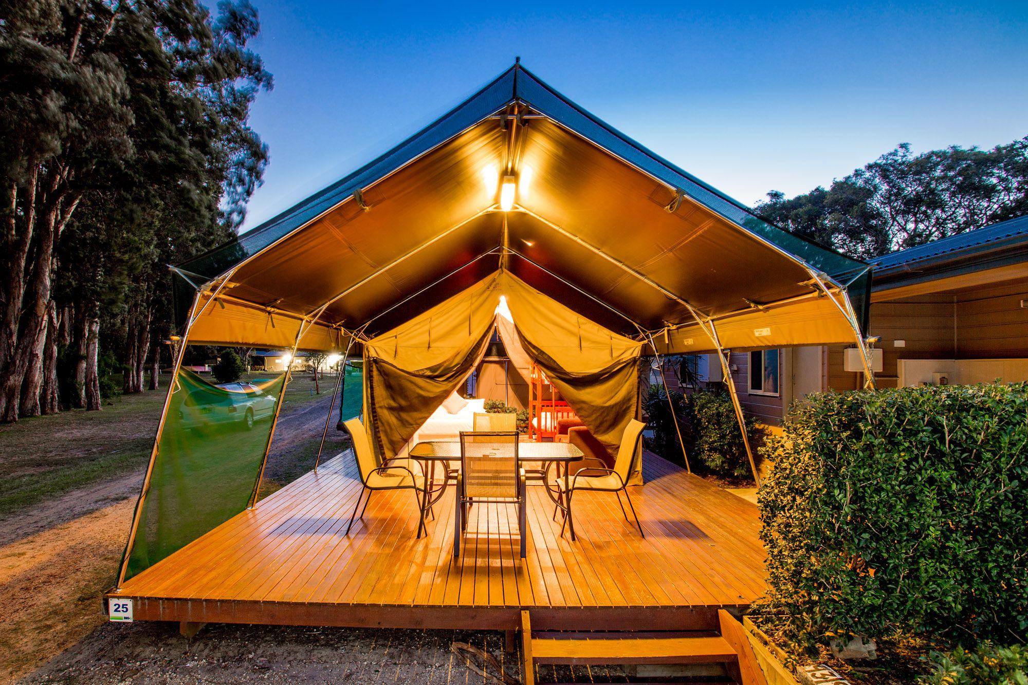 Luxury cabin accommodation - safari tents at Discovery Parks - Harrington in Harrington NSW. & Luxury cabin accommodation - safari tents at Discovery Parks ...