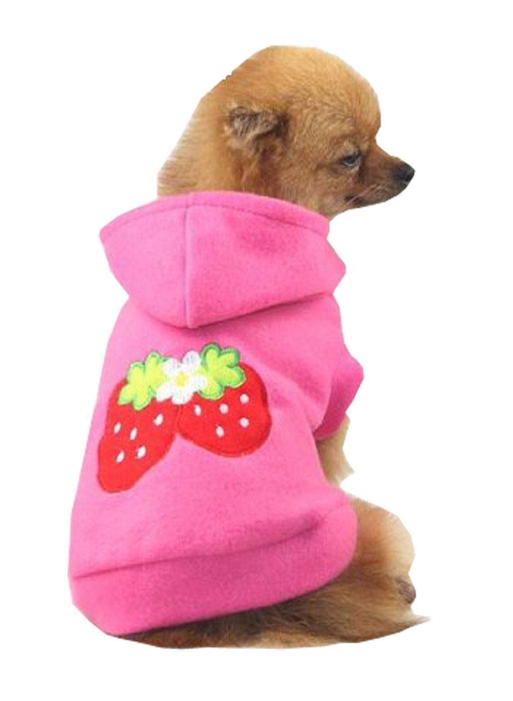 Small Strawberry Dog Cat Puppy Fleece Hoody Clothes Pet Apparel Dress Up Pet Supplies By Accessorybee Amazon Co Small Dog Clothes Puppy Coats Puppy Clothes
