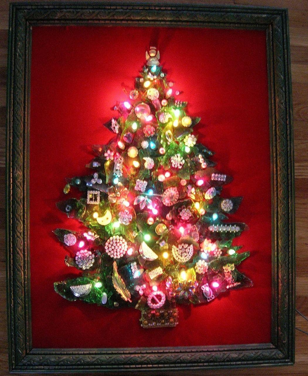 Handmade Christmas tree on velvet. Made from broken glass and ...