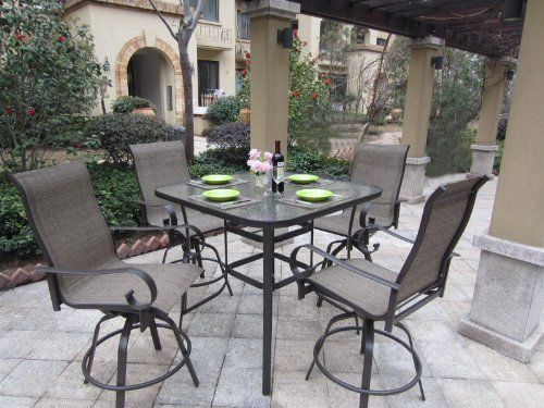 Superb Patio Furniture Captivating Outdoor Patio Dining Furniture Sets Of Vintage  High Back Sling Chairs Above Square Concrete Paving Slabs Also Recycled  Glass Top ...