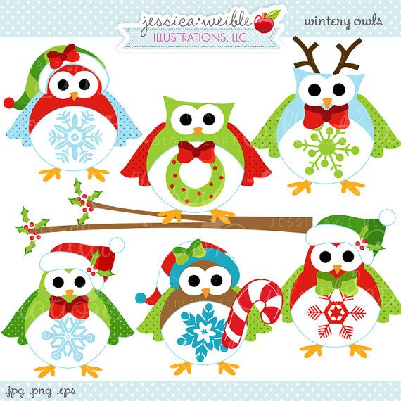 Wintery Owls set comes with 7 digital cliparts including 6 fun ...