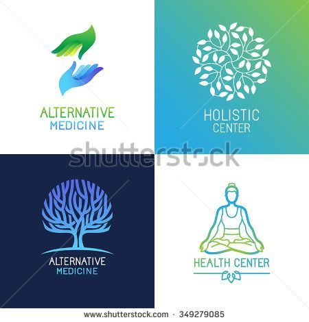 Vector set of emblems and logo design templates on bright gradient ...
