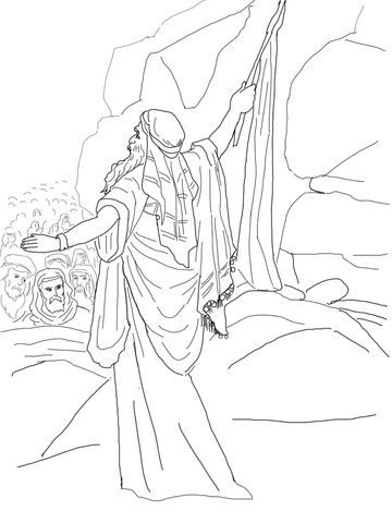 Moses Strikes The Rock And Water Comes Out Coloring Page Sunday