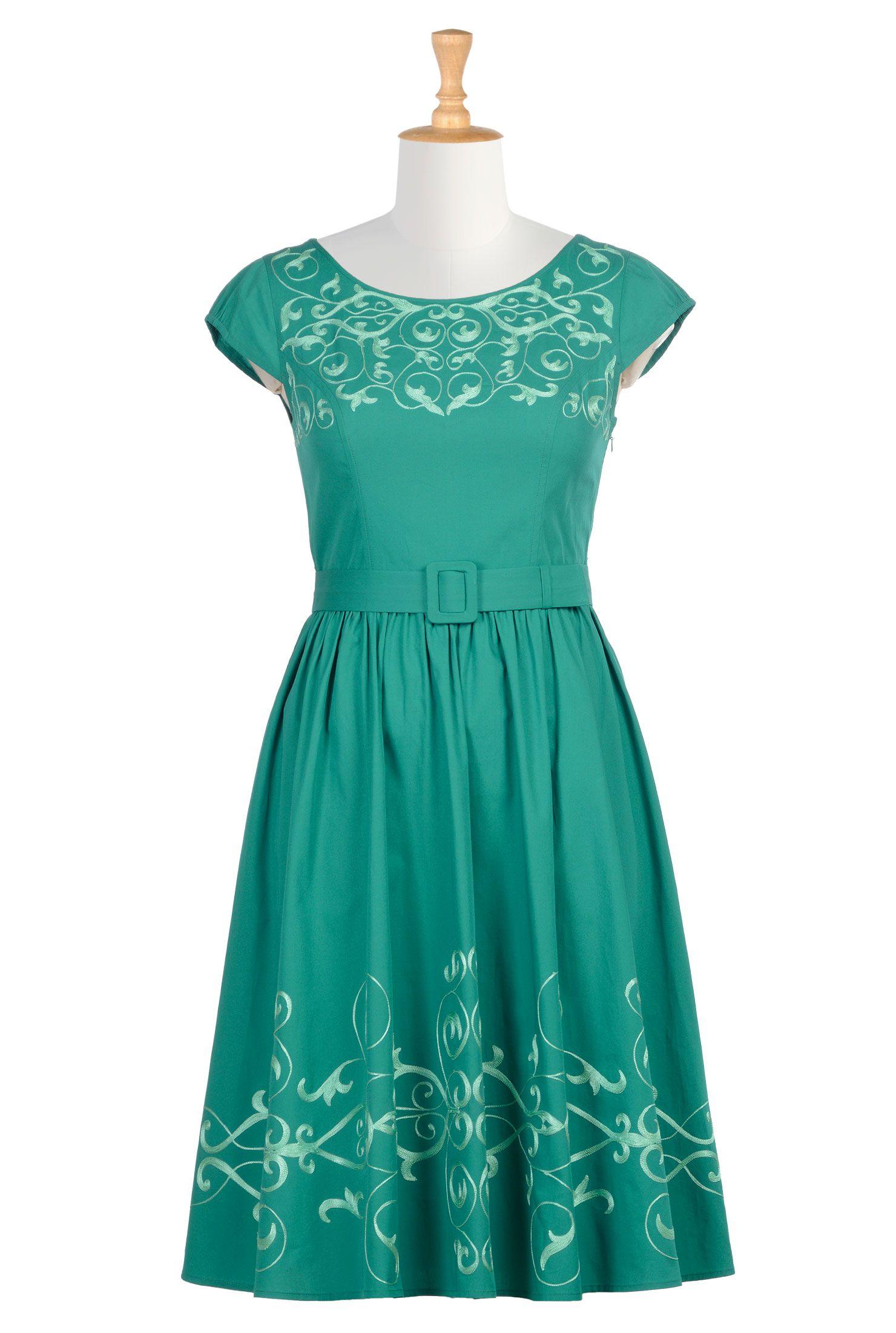 Graphic Floral Vine Embellished Poplin Dresses, Cotton Poplin Dresses Shop womens designer dresses - Tops and Dresses for Women | eShakti