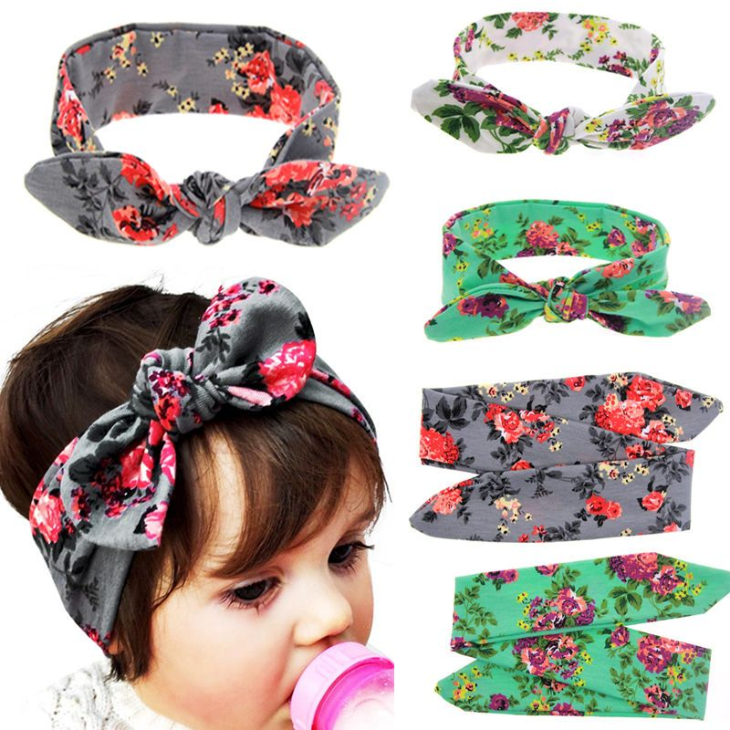 Baby Kids Girls Rabbit Ears Bow Turban Knot Headband DIY Hair Band Headwear Top #babyhairaccessories