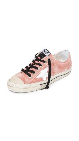 Golden Goose V-star Velvet Sneakers In