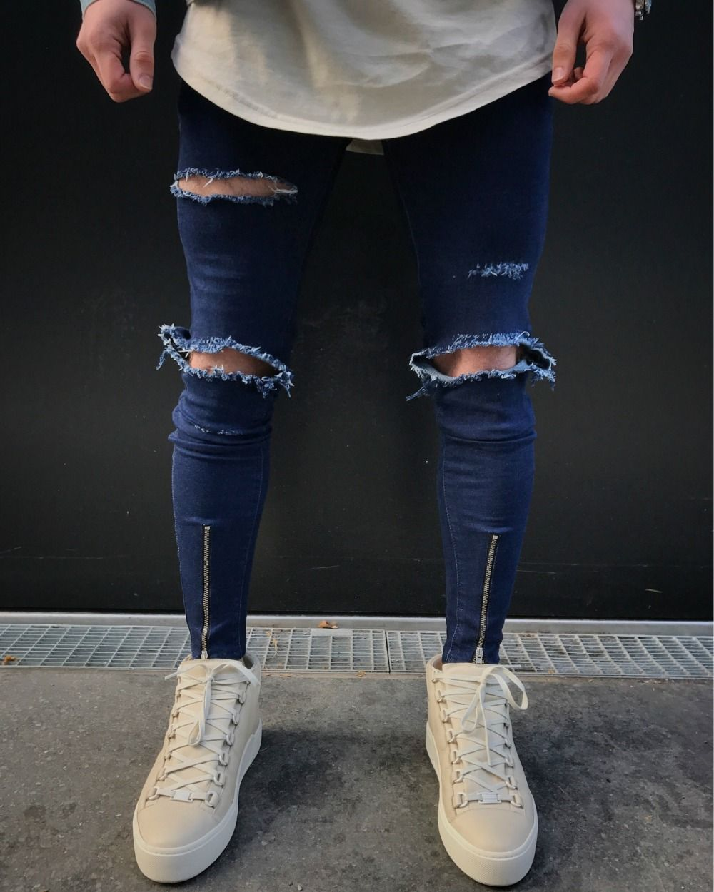 b801eef6663 Wholesale 2019 Fashion Casual Hip Hop Knee Hole Monkey Wash Zipper Leg High  Street Motorcycle Biker Denim Blue Skinny Jeans Men