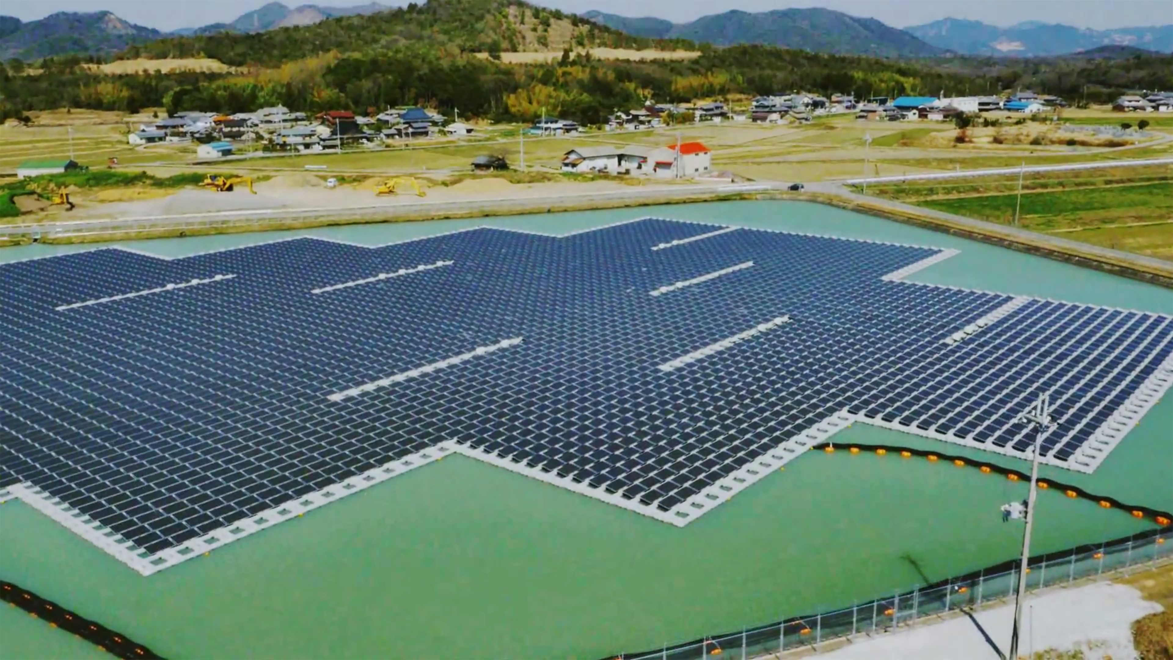 Construction has been pleted on two enormous floating solar