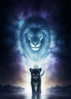 A King's Path - Signed Fine Art Print - Wall Decor - Fantasy Lion Galaxy Artwork - Painting by Jonas Jödicke