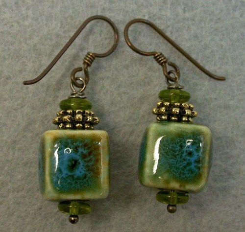 Vintage Japanese Turquoise,Amber Porcelain Cube Bead Earrings,