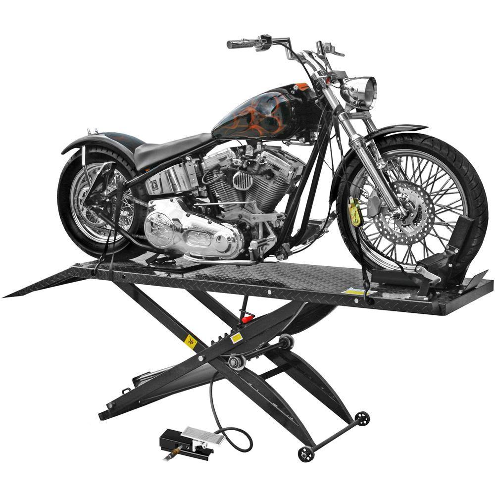 Black Widow Pneumatic Motorcycle Lift Table 1 000 Lbs Capacity Motorcycle Lift Motorcycle Lift Table Harley Davidson