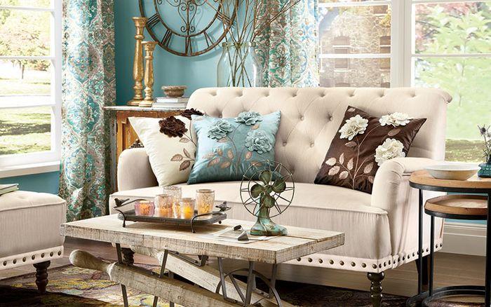 Retro Wohnzimmer ~ Vintage wohnzimmer romantischen look schaffen deko kissen mit