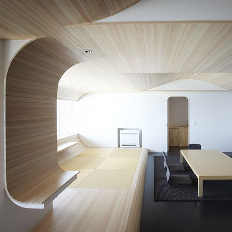 Hourai 1111 By Touhoku University Of Arts And Design Undulating Timber Panels Line The Walls Ceiling A Japanese Hotel Room Renovated