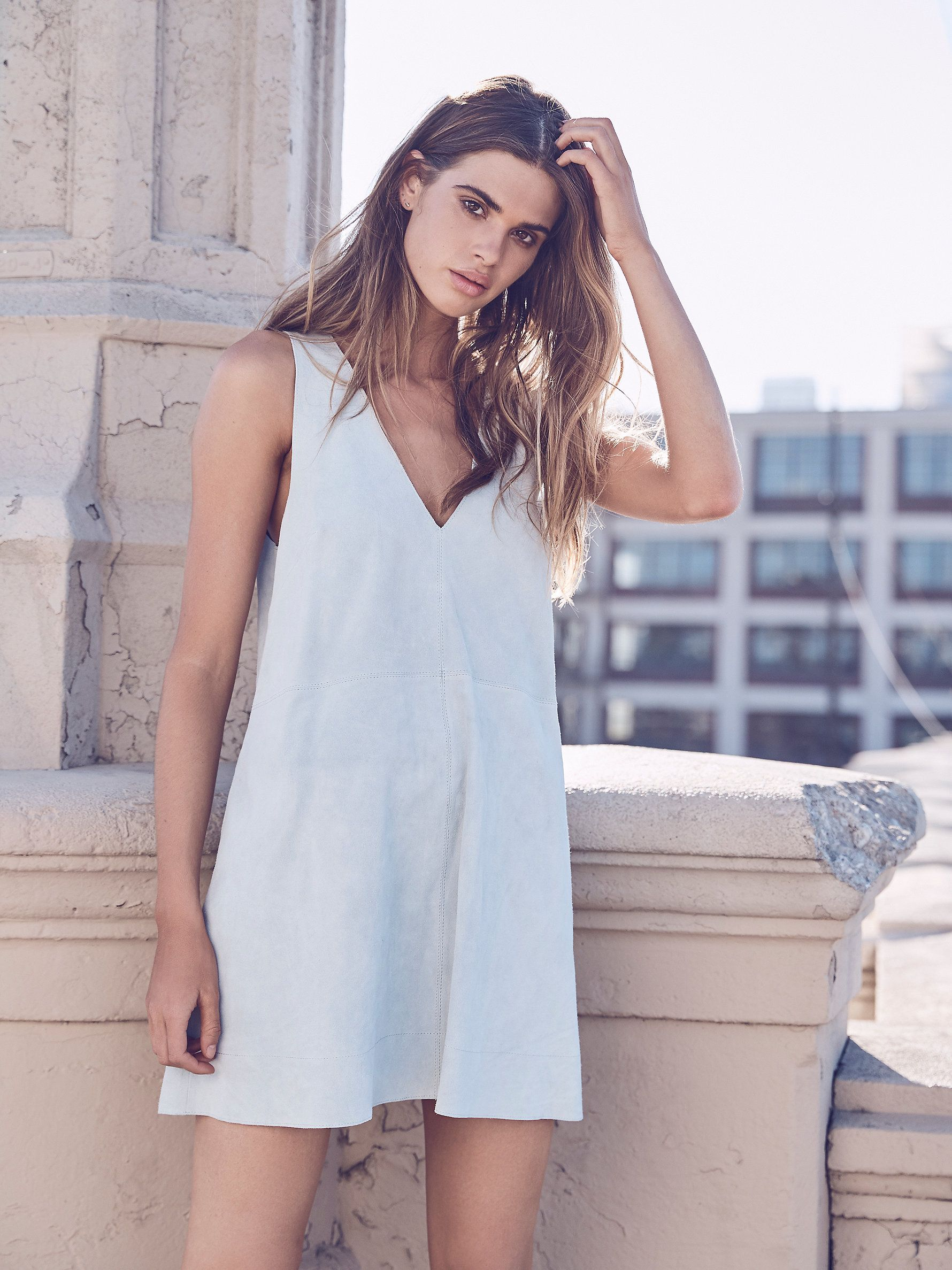 Retro love suede dress in a luxe suede this sleeveless mini dress