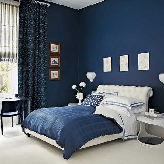 Superieur Cool Blue Bedroom Paint Idea For Teenage Boys With Dark Blue Wall Paint  Color And Queen Size Bed And Blue Comforter And White Padded Headboard Also  Unique ...