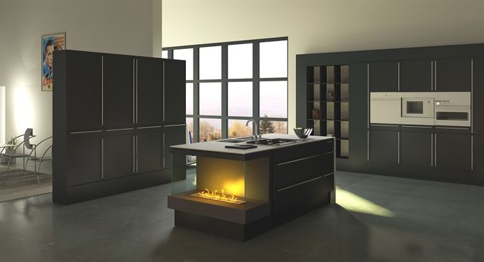 k chenblock einbau kamin mit bioethanol oder elektrokamin. Black Bedroom Furniture Sets. Home Design Ideas
