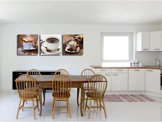 Tableau Triptyque Cuisine Tasses A Cafe Decoration Murale