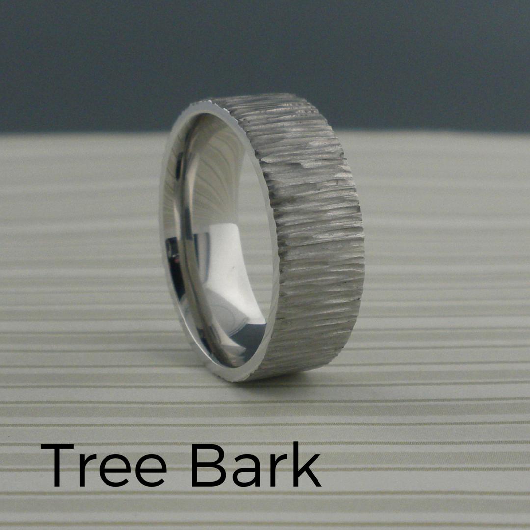 cobalt chrome tree bark wedding ring   unique titanium wedding rings