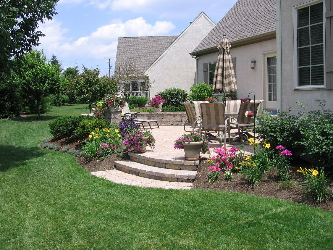 Landscape Around Patio With Stairs Place Your Patio Into