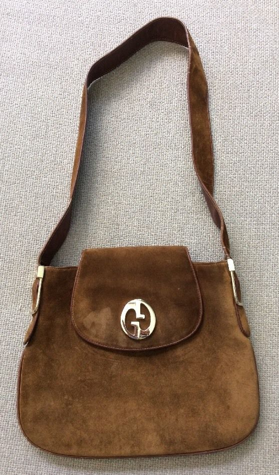 32ad48cc1 Vintage GUCCI Italy 70'S Brown Suede Leather Shoulder Bag Purse Gold  Hardware…