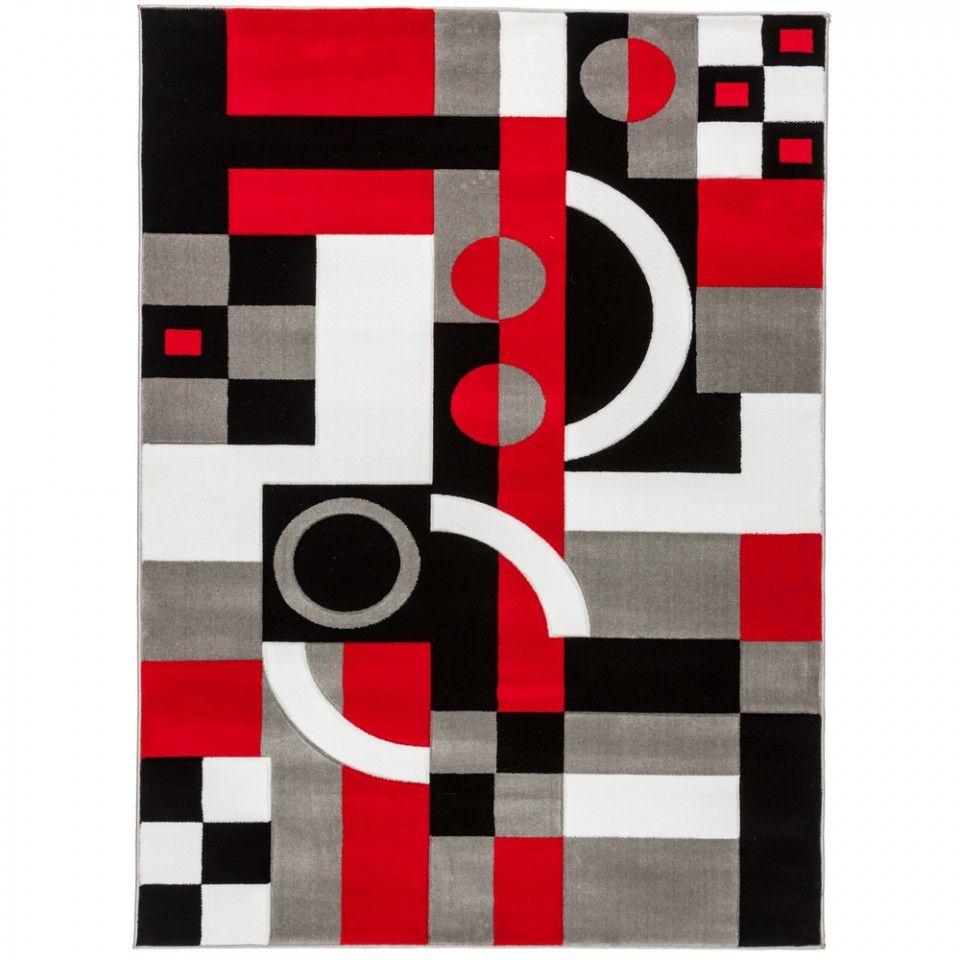 Red Black White Gray Area Rug Geometric Black And White Carpet