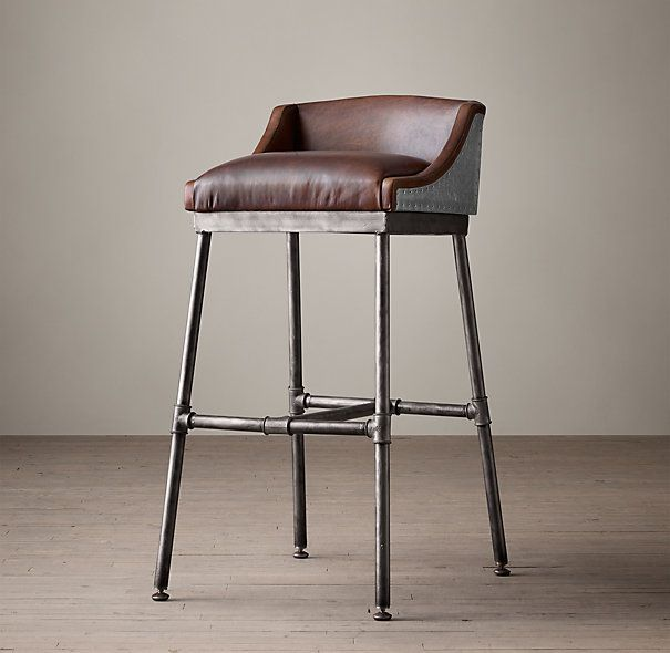 RHs Iron Scaffold Leather StoolInspired by a design our barstool is a striking mix of industrial and modern rustic and refined