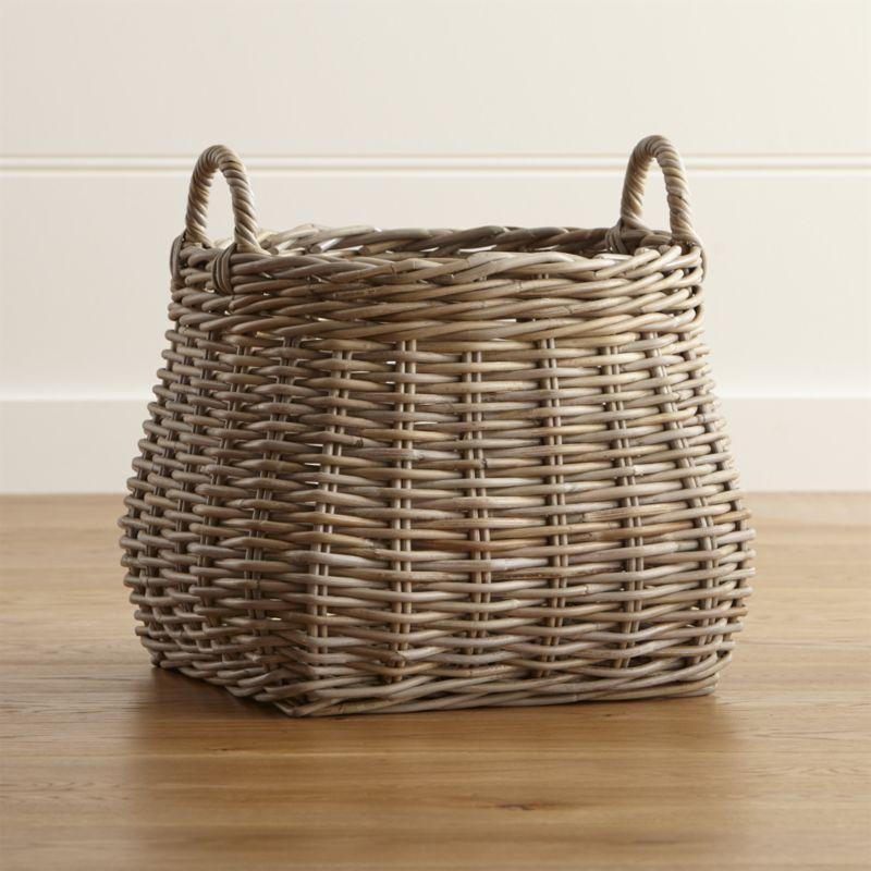 Birney Round Grey Rattan Basket