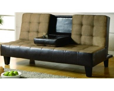 Brown Upholstered Sofa Bed W/ Drop Down Table   Sam Levitz Furniture