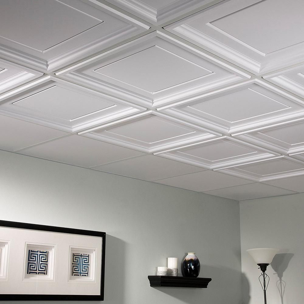 Genesis Icon Coffer 2 Ft X 2 Ft Lay In Ceiling Panel 753 00 The Home Depot Coffered Ceiling Diy Living Room Ceiling Ceiling Panels