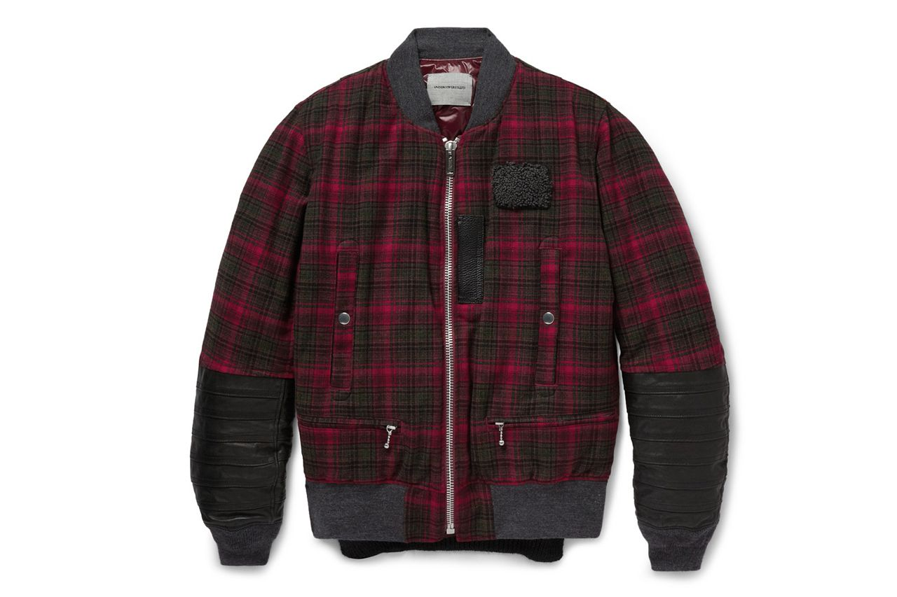Undercover Leather-Trimmed Check Bomber Jacket | MR PORTER 2013 Holiday Gift Guide