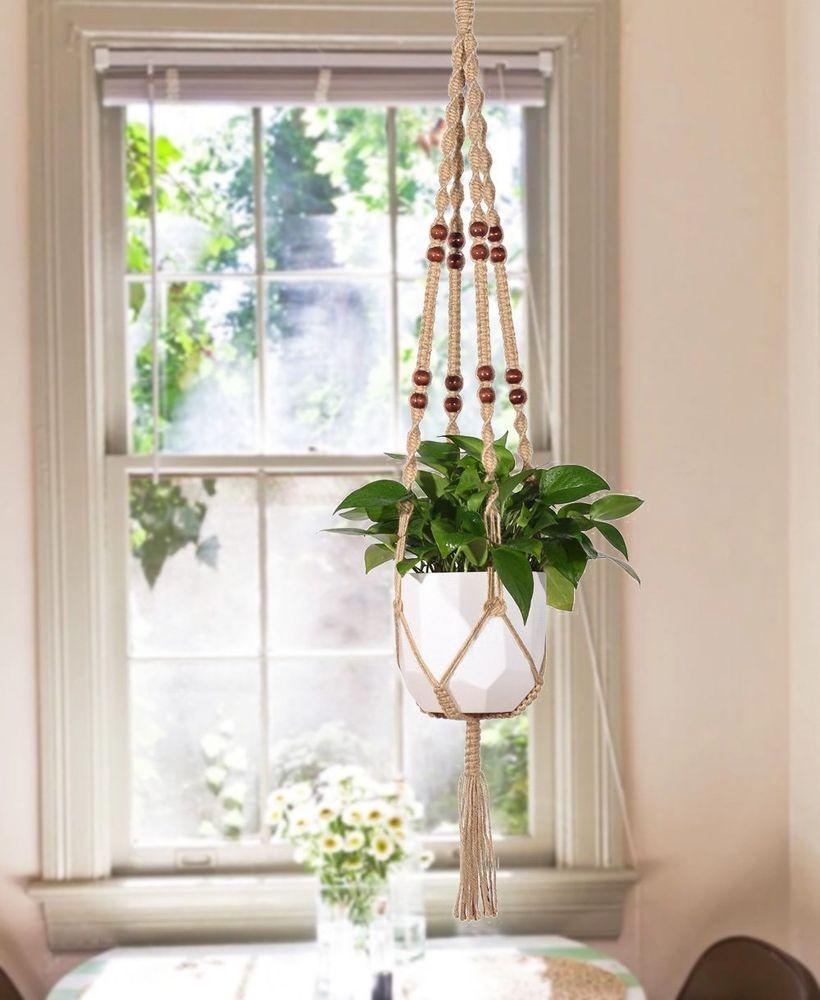 """Macrame Plant Hanger Indoor Outdoor Hanging Basket Planter Jute Rope Beads 48/"""""""