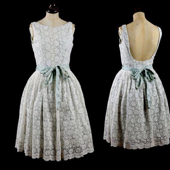 Ivory Lace Low Back Dress - Vintage 50s Style Short Mint Wedding ...