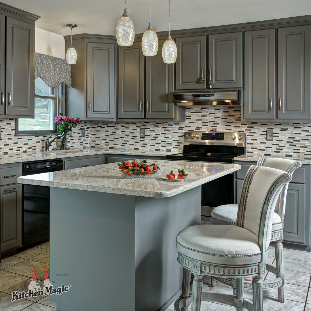 This Kitchen Combines The Elegance Of Prestige Cabinets In Soft And Supple Suede Gray With Cambria S L Black Appliances Kitchen Kitchen Remodel Kitchen Design