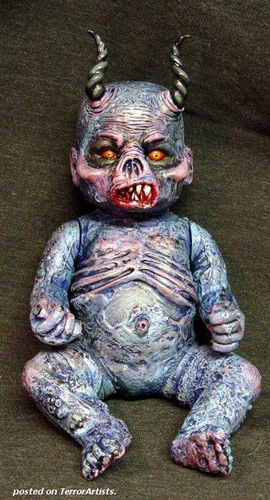 Demonic Baby ... use paperclay to distorte a babydoll, then paint