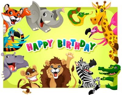Fathonan Template Kartu Ucapan Selamat Ulang Tahun Anak Karakter Binatang Lucu Imut Kartu Ulang Tahun Lucu