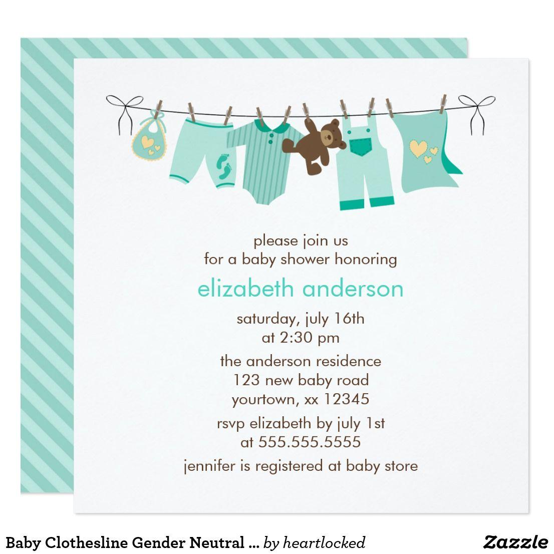 Baby Clothesline Gender Neutral Baby Shower Invitation Zazzle Com Gender Neutral Baby Shower Gender Neutral Baby Shower Invitations Baby Shower Invites Neutral