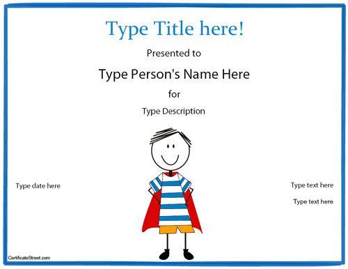 Blank Certificate  Hero Award Certificate Template Myawardmaker